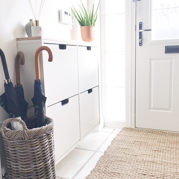 Umbrella basket for hallway furniture