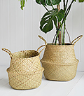 Hove set of natural bellybaskets. Set of basket storage with handles from the White Lighthouse new England Furniture