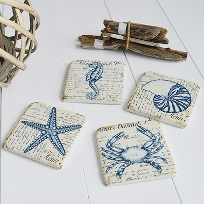 Blue and white floral coasters for New england coastal homes and interiors