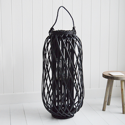Large Tall Black  Willow Lantern - New England Coastal & Country Furniture and Home Decor for beauriful homes. Hallway, Living Room Bedroom and Bathroom furniture