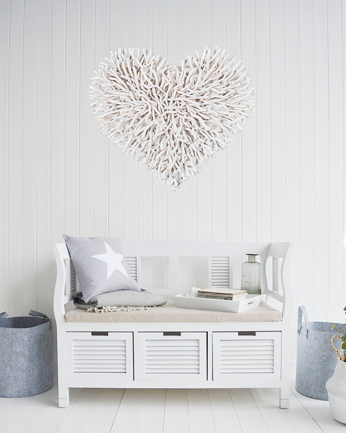 Large Chunky White White Twig Heart on a hallway wall
