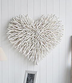 Large Chunky White Wood Twig Heart from The White Lighthouse Furniture for country cottage interiors