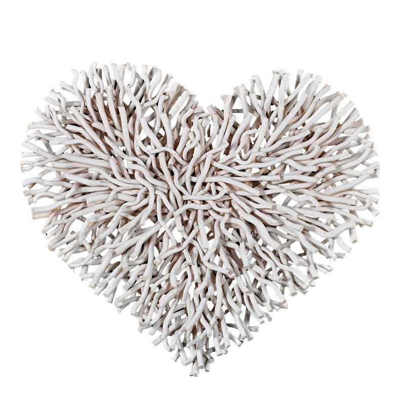 Large Chunky White White Twig Heart for country cottage interiors