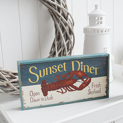 Nautical New England Coastal  Furniture and accessories for the home. A quirky, colourful New England sign typical for restaurants in the coastal areas the White Lighthouse Furniture and Home interiors
