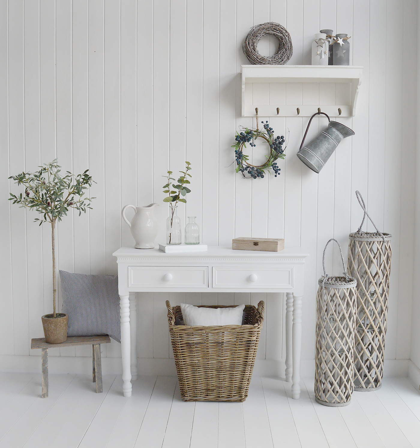 New England style white furniture and home decor for country, city and coastal homes and interiors