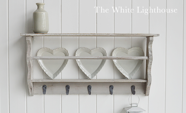 Grey Washed Coat Rack With Shelves For Hall The White