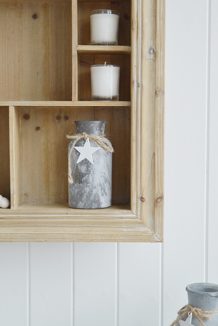 Pawtucket display wooden wall shelf in greyed wood for the living room, bathroom, hallway or bedroom. Perfectly complements coastal, country and white furniture in New England Interiors from The White Lighthouse Interiors
