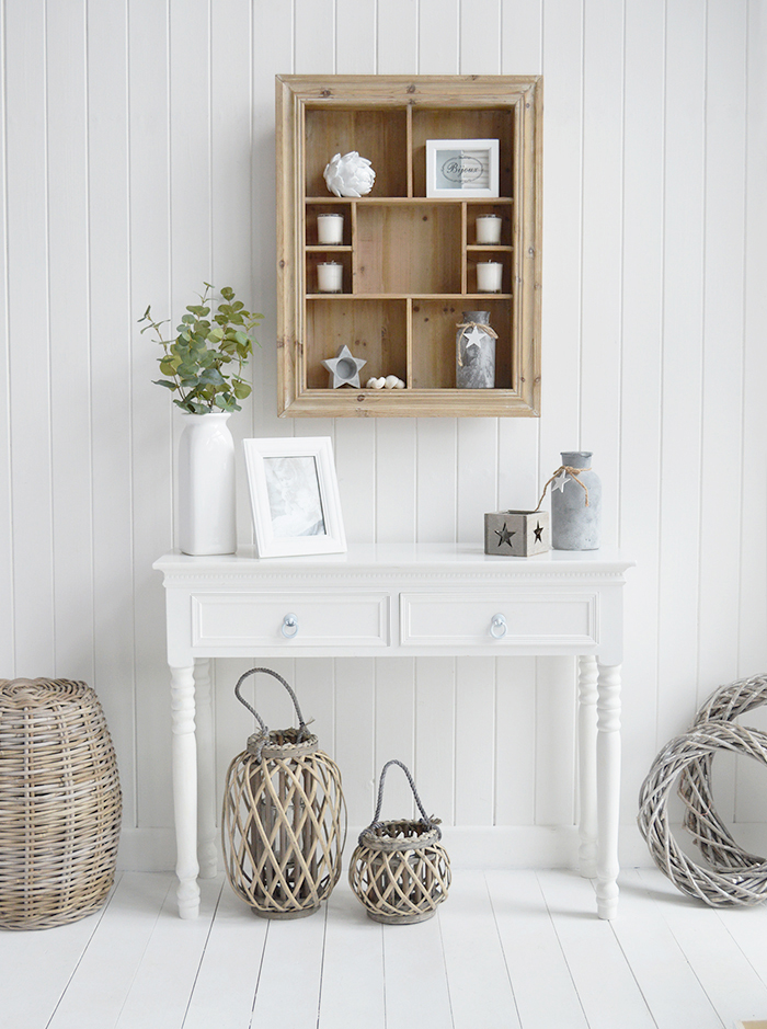 The Pawtuck display shelf  shown with our new England white console table for perfect coastal hallway furniture. Bright and airy for a coastal home
