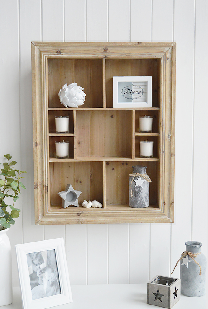 Pawtucket display wooden wall shelf in greyed wood for the living room, bathroom, hallway or bedroom. Perfectly complements coastal, country and white furniture in New England Interiors and homes