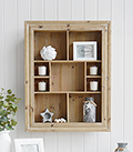 Pawtucket display wooden wall shelf in greyed wood for the living room, bathroom, hallway or bedroom. Perfectly complements coastal, country and white furniture in New England Interiors and homes from The White Lighthouse