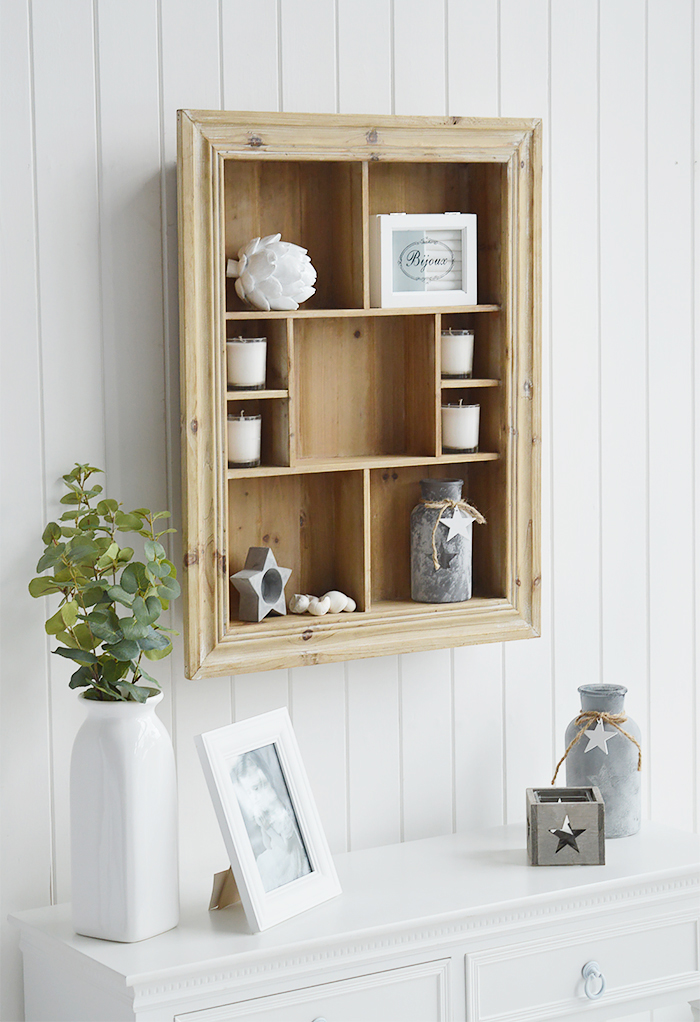 Pawtucket display wooden wall shelf in greyed wood for the living room, bathroom, hallway or bedroom. Perfectly complements coastal, country and white furniture in New England Interiors from The White Lighthouse
