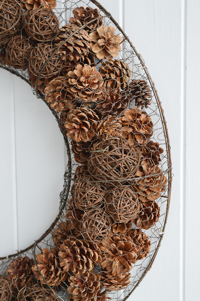 Pinecone wreath from The White Lighthouse Furniture and Home Decor for Hallway, Living room, Bedroom and bathroom in New England, Coastal, Country, City and white homes