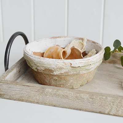 Our little rustic clay planter... perfect for planting bulbs and as a small bowl as shown on our Pawtucket display trays for New England country coastal and farmhouse interiors