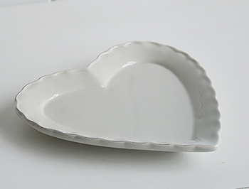 Grey ceramic heart plate