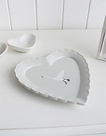 Grey trinket heart plate with white flying goose great little home decor accessory for white and grey homes