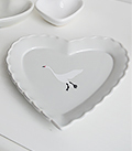 Grey heart trinket plate with flying white goose for dressing table accessory