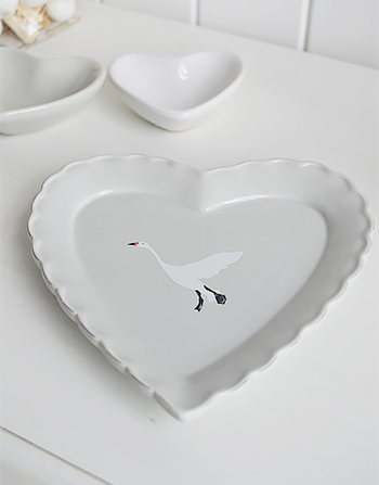 Grey trinket heart plate with white flying goose