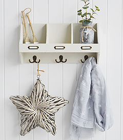 white wooden wall shelf with hooks in beach house aged finish, ideal for hallway as coat storage or in bathroom and bedroom