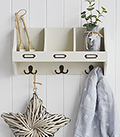 Beach House white wall shelf with hooks. Ideal hallway coat storage or for bathroom