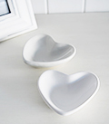 Set of 2 grey and white trinket heart bowls