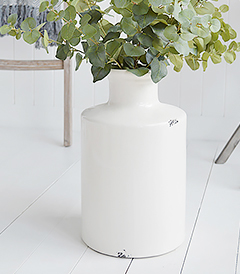 Extra large white ceramic vase with artificial eucalyptus from The White Lighthouse New England coastal and country furniture for the hallway, living room and bedroom. Lighthouse