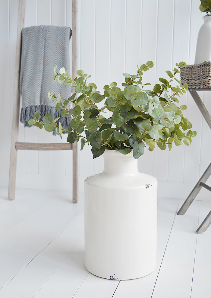Extra large white ceramic vase with artificial eucalyptus