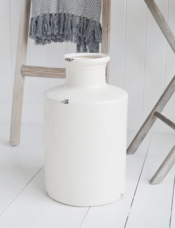 Extra large white ceramic vase