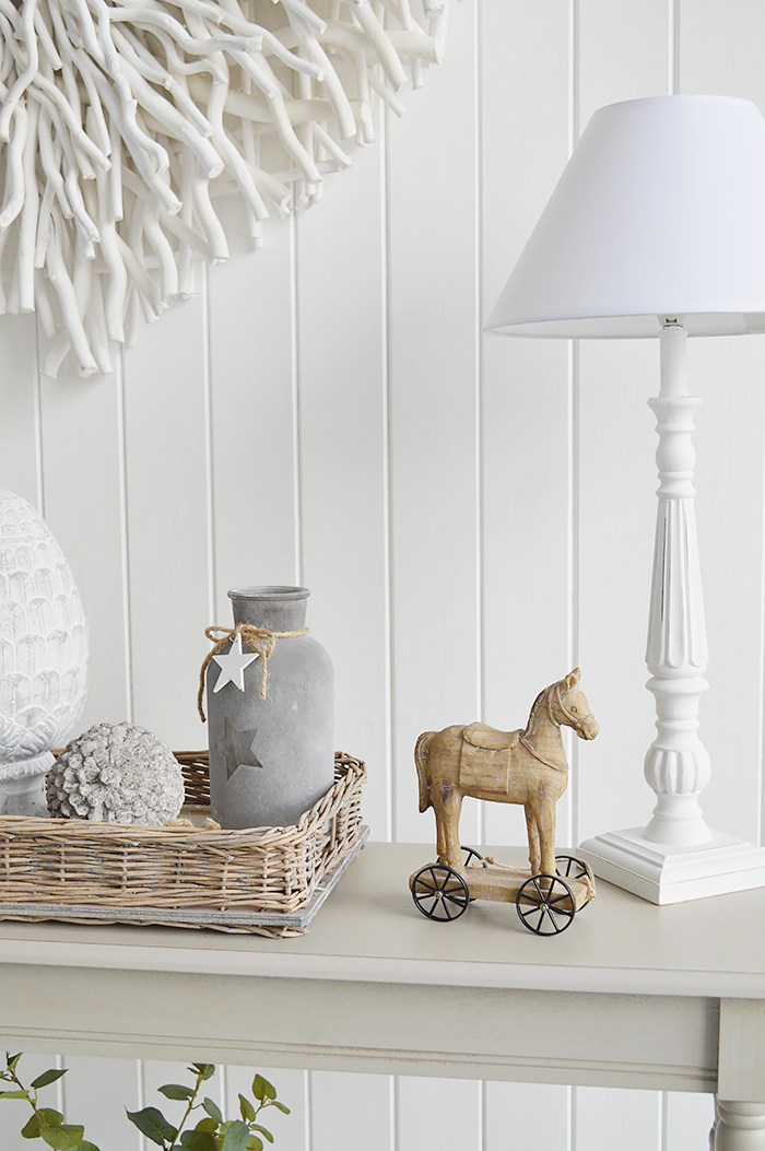 Range of home decor accessories for both country and coastal New England styled homes.