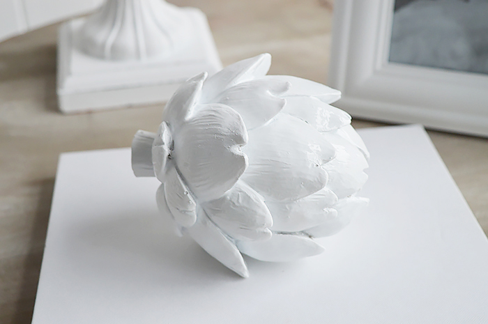 Decorative white artichoke from The White Lighthouse Home Decor and Furniture