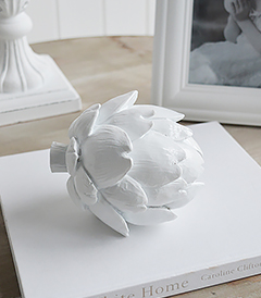 Decorative White Artichoke, perfect for console table and coffee table styling and decor