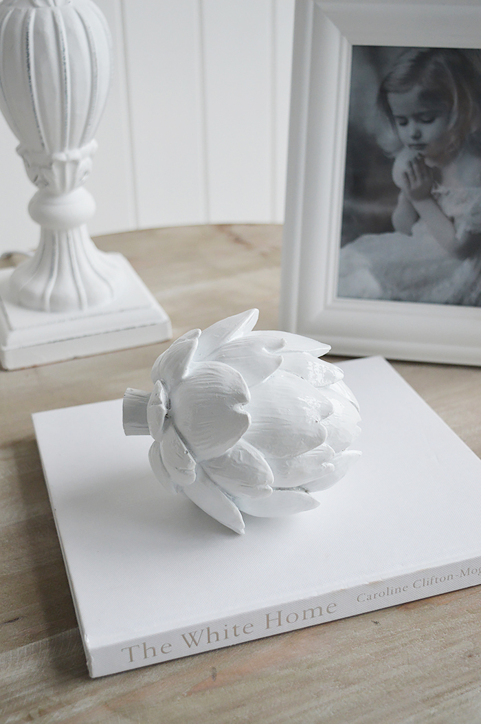 Decorative white Artichke from The White Lighthouse Home Decor