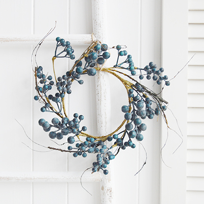 Artificial Blueberry Wreath for New England country, coastal and farmhouse interiors and home