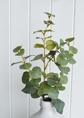 artificial Eucalyptus greenery stem spray in a vase