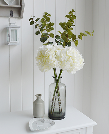 Artificial White Hydrange with Eucalyptus in black glass vase