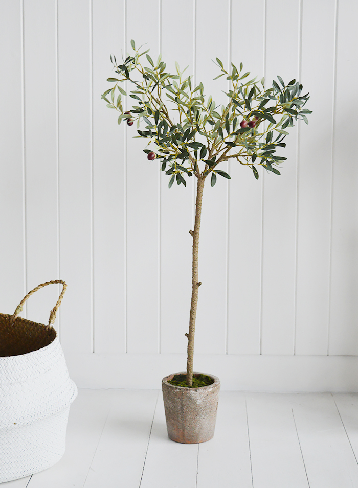 Realisitic artificial olive tree in a pot
