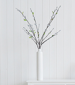Artificial Grey Pussy Willow in tall white vase