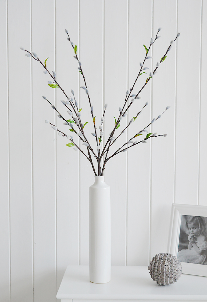 Three artificial Grey Pussy Willow Brances in a tall white vase