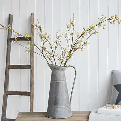 Artificial White Berry Branch for New England country, coastal and farmhouse interiors and home