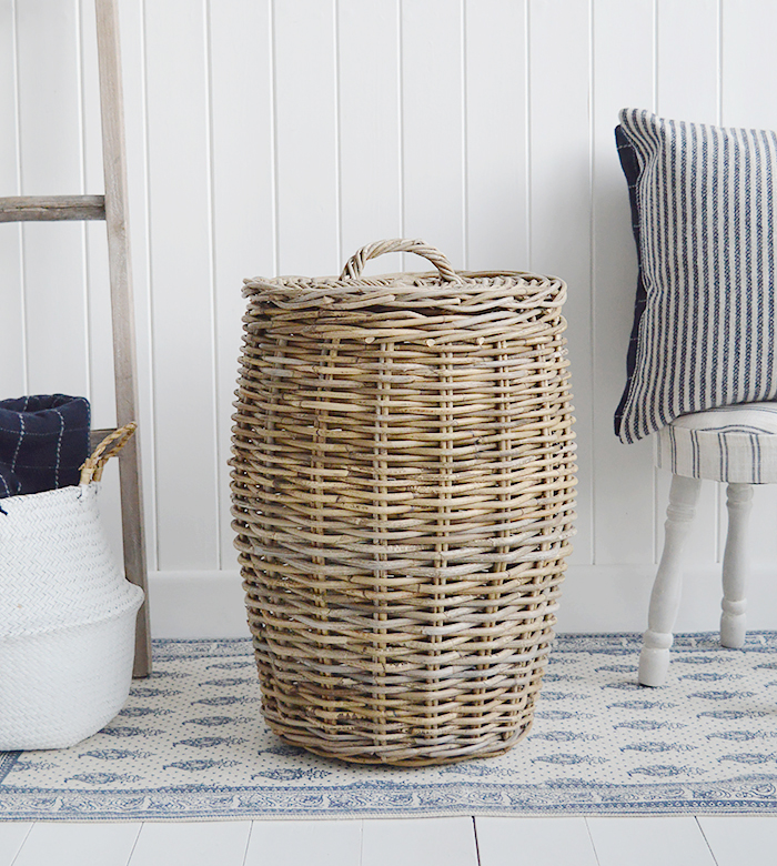 Casco Bay grey willow laundry basket with lid from The White Lighthouse Furniture and Home Interiors for New England, country, coastal and city homes for hallway, living room, bedroom and bathroom