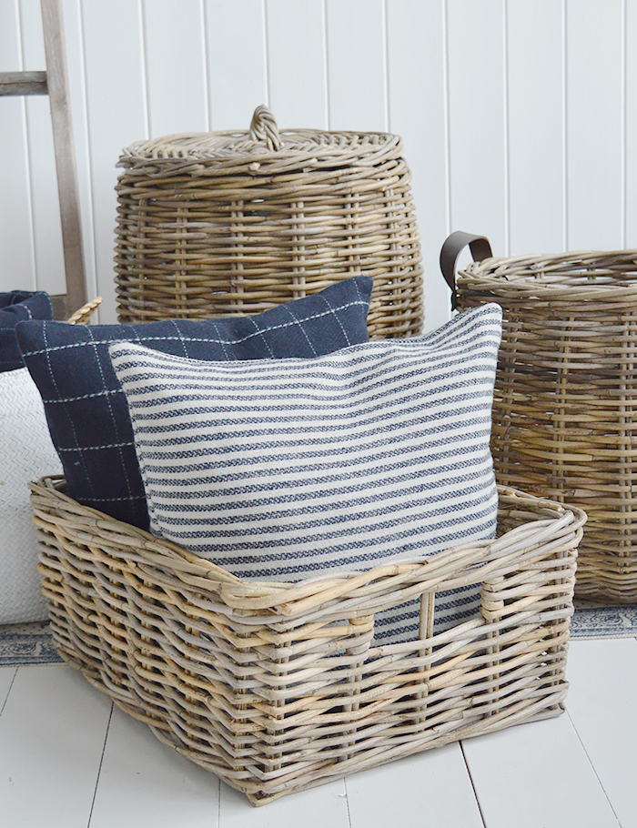 Casco Bay grey willow gre basket with handles for logs, toys and everyday storage from The White Lighthouse Furniture and Home Interiors for New England, country, coastal and city homes for hallway, living room, bedroom and bathroom