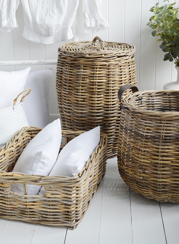 Casco Bay grey willow round basket with handles for logs, toys and everyday storage from The White Lighthouse Furniture and Home Interiors for New England, country, coastal and city homes for hallway, living room, bedroom and bathroom