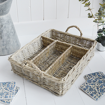 Casco Bay grey willow tray for coffee table decor in New England style homs from The White Lighthouse Furniture