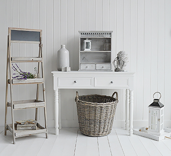 Grey and white home decor accessories.