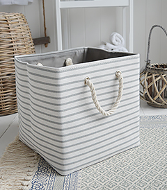 New England style grey and white basket storage and interiors