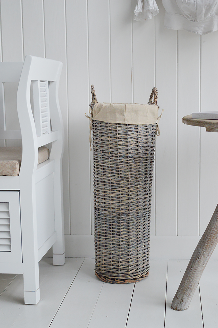 Grey umbrella basket for hallway storage