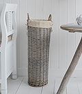 Grey Willow Basket Umbrella stand holder with handles