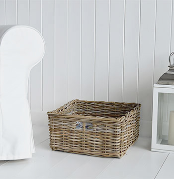 Grey willow basket, perfect for magazines