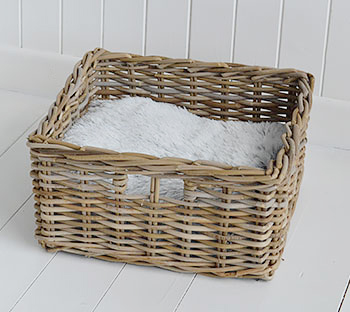Grey willow magzaine basket