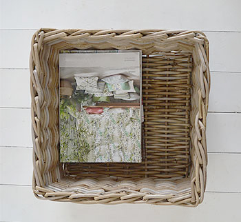 Grey willow square basket, perfect for magazines