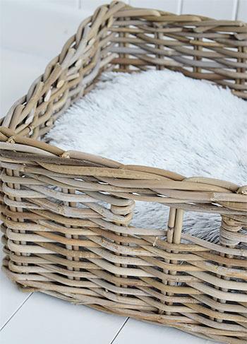 Grey basket for storage